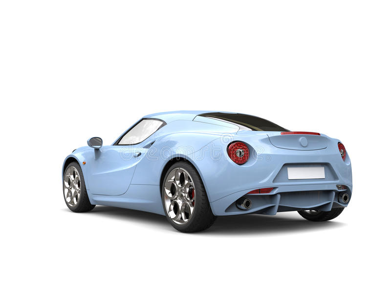 Light sky blue modern luxury sports car - tail view. Isolated on white background stock illustration