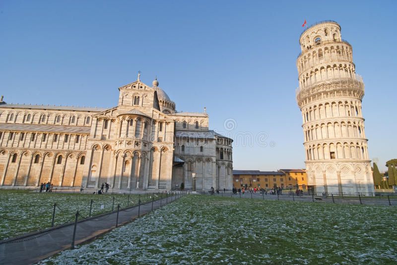 Light snow in Piazza dei Miracoli, Pisa, Italy royalty free stock image