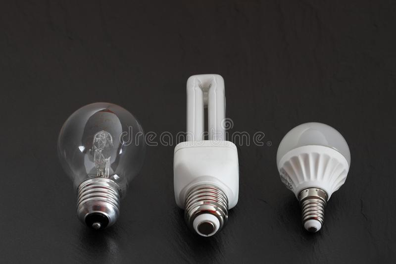 Light sources and light bulbs. A Light sources and light bulbs stock photo