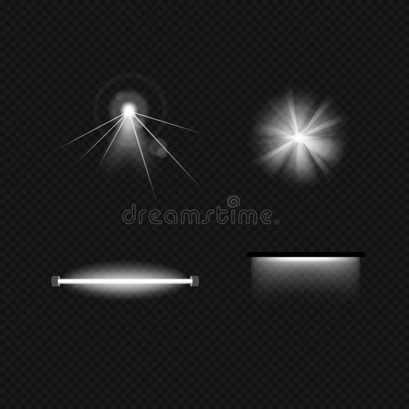 Light sources, lighting incandescent lamps, halogen, fluorescent, floodlight, sunlight, ultraviolet. Light sources, lighting incandescent lamps, halogen lamps vector illustration