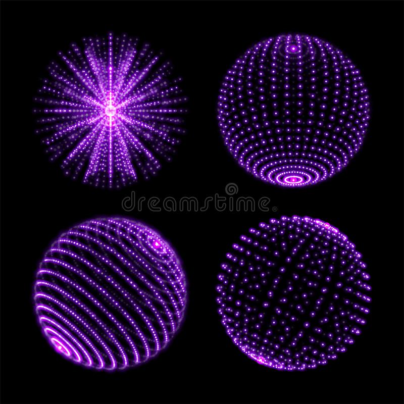 Light sphere ball. Vector neon light globes with spiral ultraviolet sparkles and energy glow rays or particles with dot connection. Light sphere ball with dot stock illustration