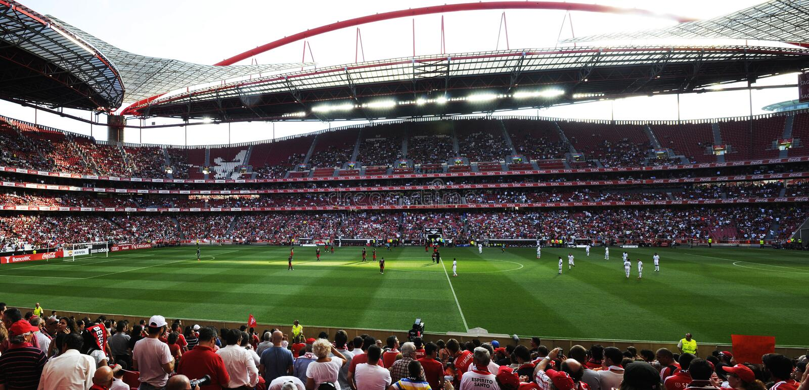 Benfica Soccer Stadium Panorama, Football Fans, Europe royalty free stock images
