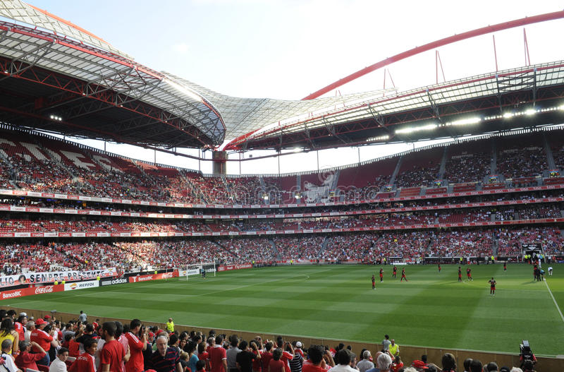 Soccer Stadium and Fans, Football Arena, Sports Crowd, Benfica Stadium, Lisbon stock photos