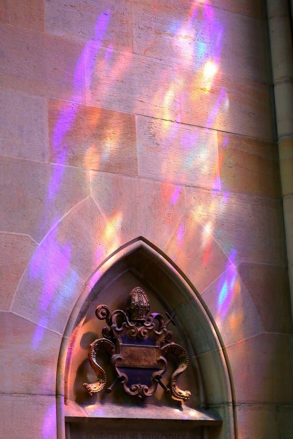Light from the stained-glass windows, St. Vitus Cathedral Katedrala svateho Vita, Prague Praha, Czech Republic Ceská republik. The Metropolitan Cathedral of royalty free stock photos