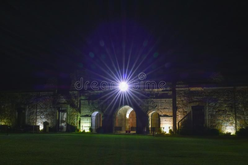 Light star in the ruins of an old fortress royalty free stock image