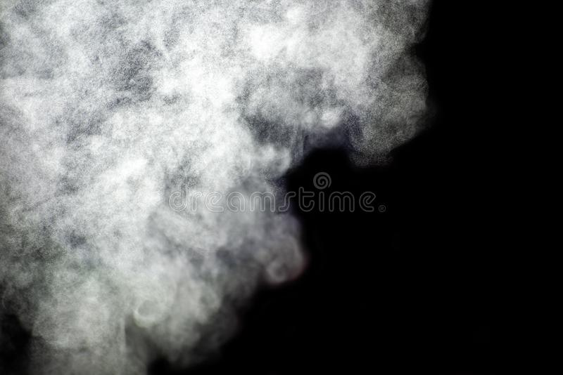 Light steam on a black background. Light steam isolated on a black background, smoke, mist, fog, cloud, white, shape, magic, air, texture, pattern, curve royalty free stock photos