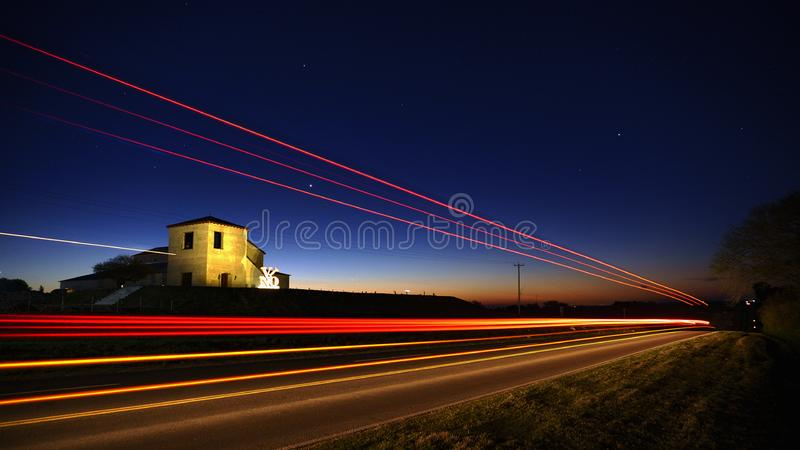Light streaks from traffic stock image