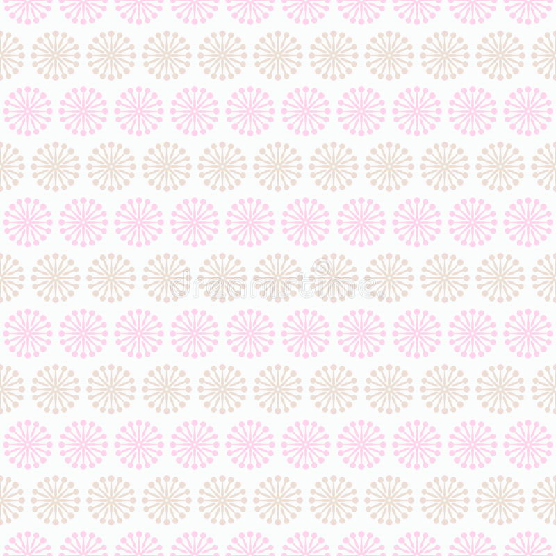 Light summer seamless pattern. Fond pink, white. And brown colors. Endless texture can be used for printing onto fabric and paper or invitation. Floral, curl stock illustration
