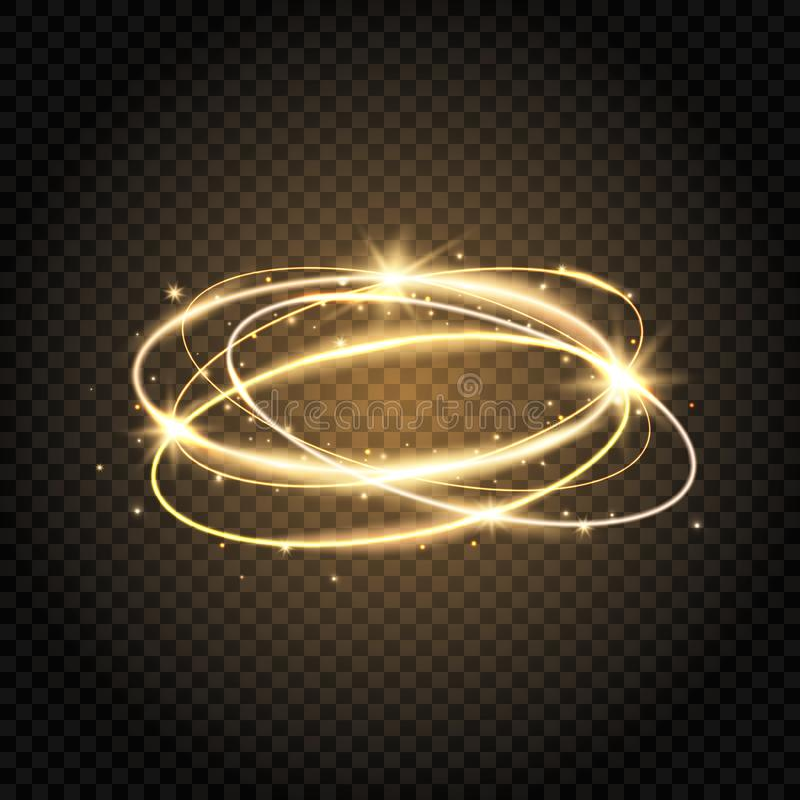 Light swirl. Glow shiny spiral. Gold circle line. Glowing magic fire ring. Sparkle swirl trail. Bright circle frame with vector illustration