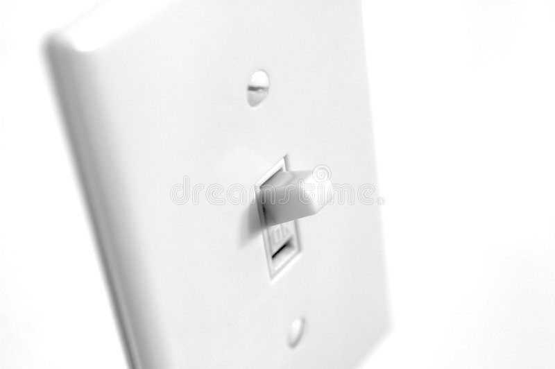 Light switch. Black and white photo of conventional light switch