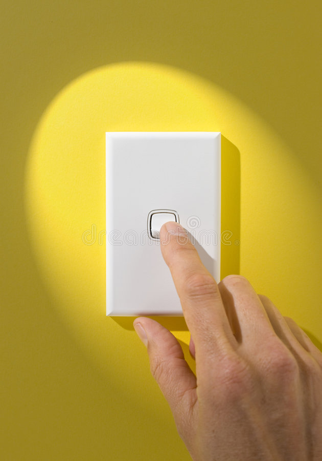 Light Switch On Off Hand royalty free stock image