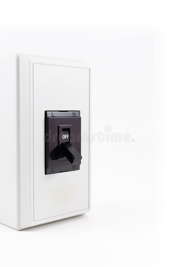 Light switch. In the off position isolated on white background stock image