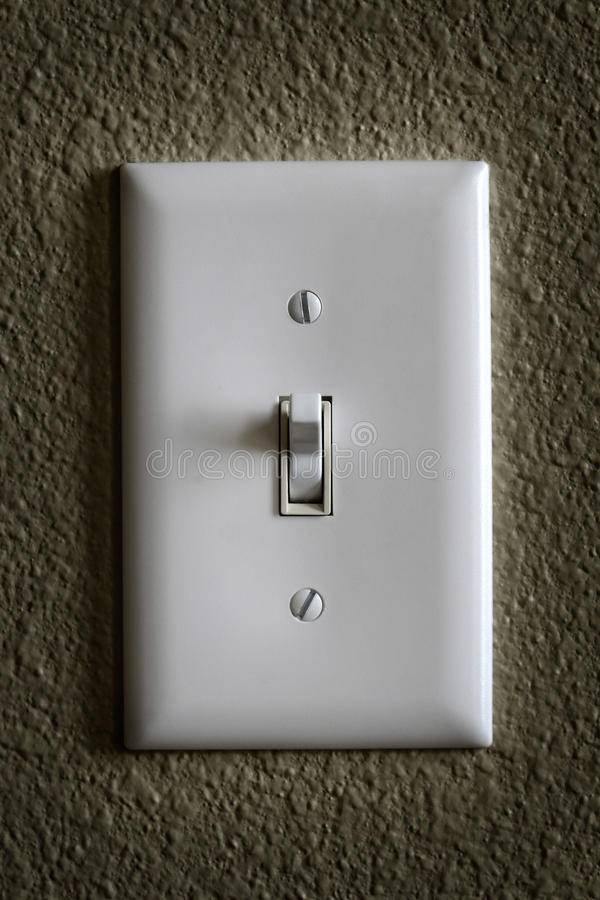 Light Switch for Tunring on or off Power Electricity. Closeup of light switch for turning on or off power electricy royalty free stock photography