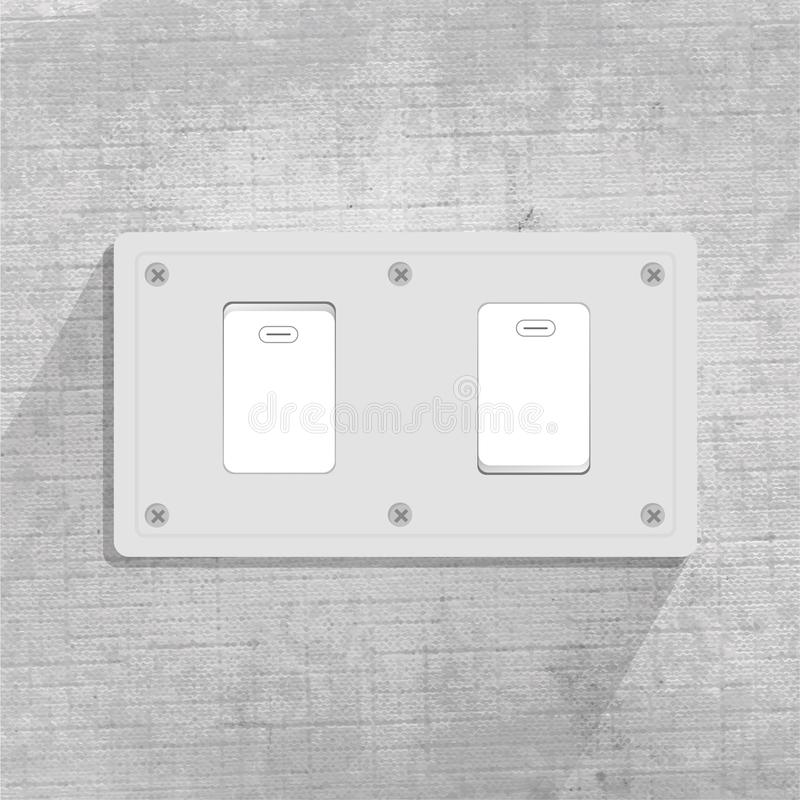 Light switch. two Light switch. gray background. For graphic design vector illustration