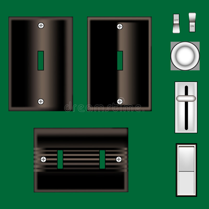 Download Light Switches And Faceplate In Vector Black Stock Vector - Image: 8678576