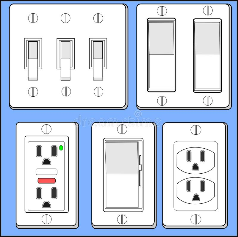 Download Light Switches And Plug-ins. Stock Vector - Illustration: 20309815