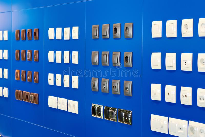 Light switches and sockets in store. Light switches and sockets in the store stock image