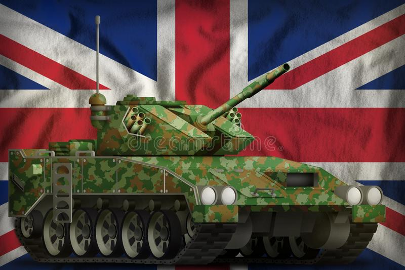 Light tank apc with summer camouflage on the United Kingdom UK national flag background. 3d Illustration. Light tank apc with summer camouflage on the United stock illustration