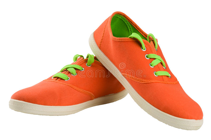 Light textile shoes royalty free stock photography