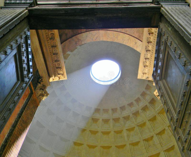 The light throught the pantheon in Rome royalty free stock image