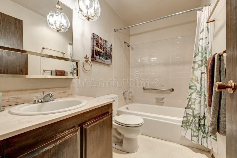 Light tones bathroom interior design in apartment stock photo