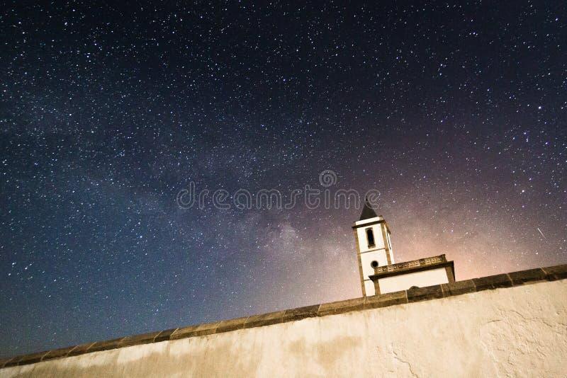 Milky way over Iglesia de las Salinas Cabo de Gata stock photos