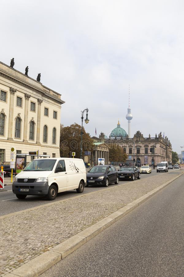 Light traffic and the Berlin Dome. In background and other landmarks from Berlin city in Germany royalty free stock photography