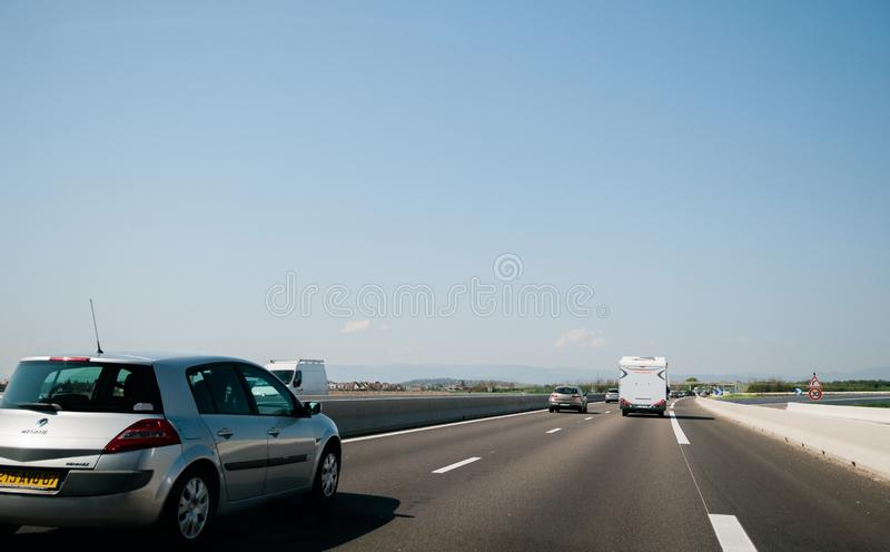 Light traffic on French highway perspective view royalty free stock photos