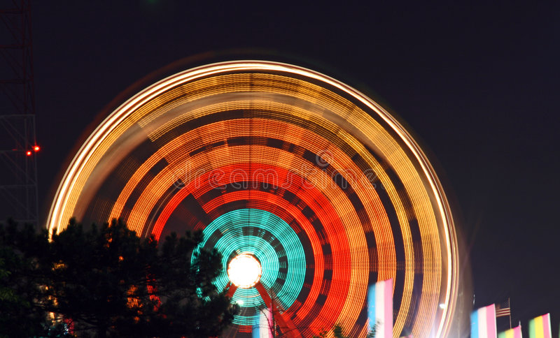 Light trail of Ferry wheel royalty free stock photo