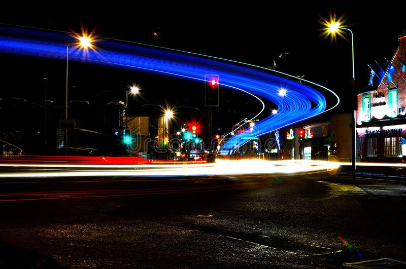 Light Trail at Musselburgh junction. stock images