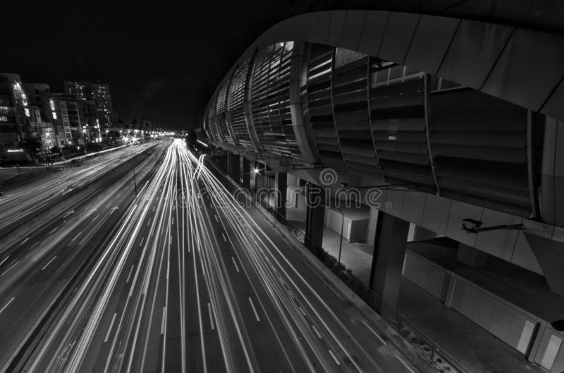 A light trail picture of IOI Puchong Jaya LRT Station in puchong. Selangor Malaysia. royalty free stock images