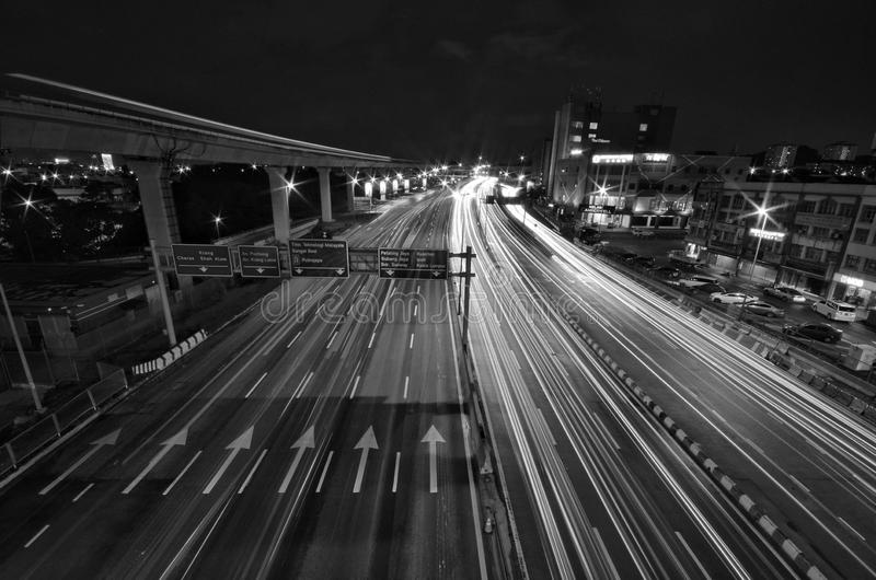 A light trail picture of IOI Puchong Jaya LRT Station in puchong. Selangor Malaysia. stock images