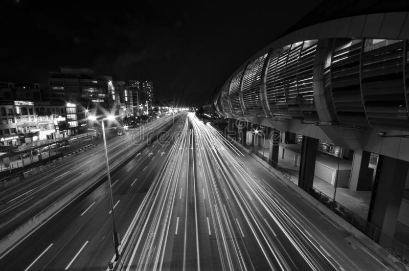 A light trail picture of IOI Puchong Jaya LRT Station in puchong. Selangor Malaysia. royalty free stock photography