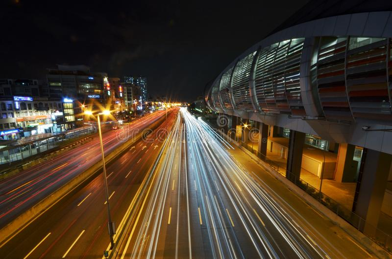 A light trail picture of IOI Puchong Jaya LRT Station in puchong. Selangor Malaysia. Picture taken on 30 October 2018. Light trail picture ioi puchong jaya lrt stock photo