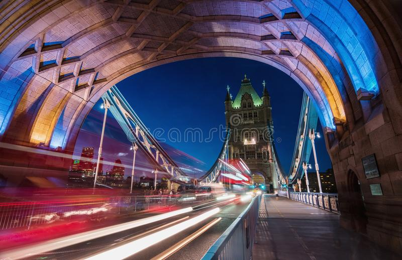 Light trails along Tower Bridge in London royalty free stock image