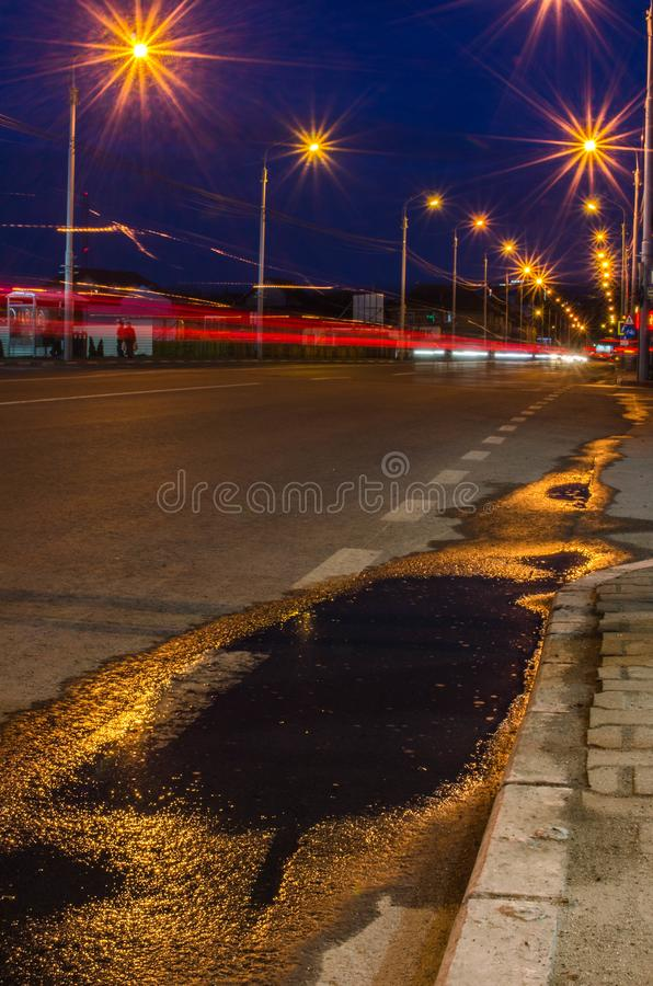 Free Light Trails At Blue Hour Stock Images - 107028284