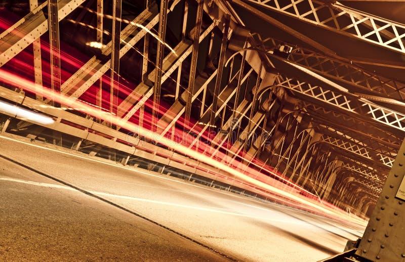 Light Trails on the Bridge, Cremona, Italy royalty free stock photos