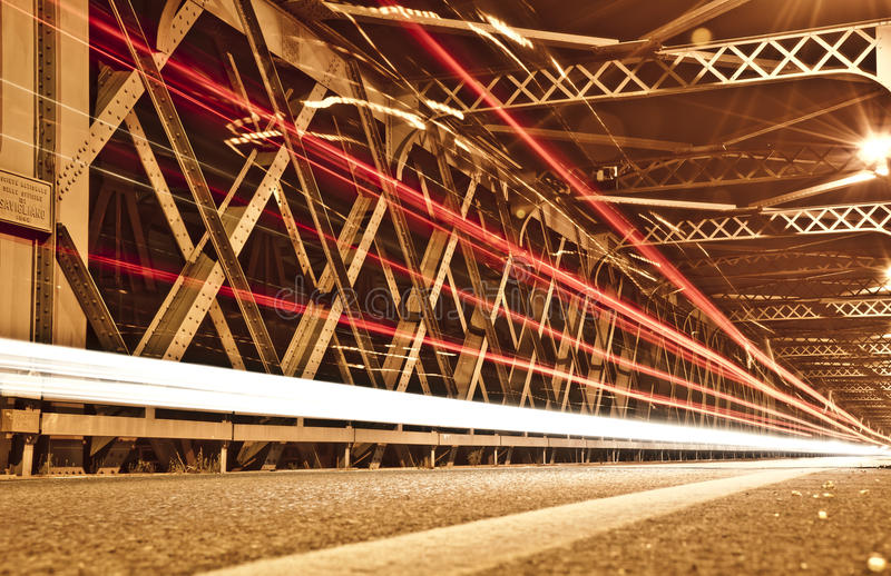 Light Trails on the Bridge, Cremona, Italy royalty free stock photography