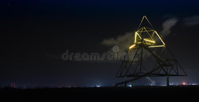 Light Trails in City Against Sky at Night royalty free stock image