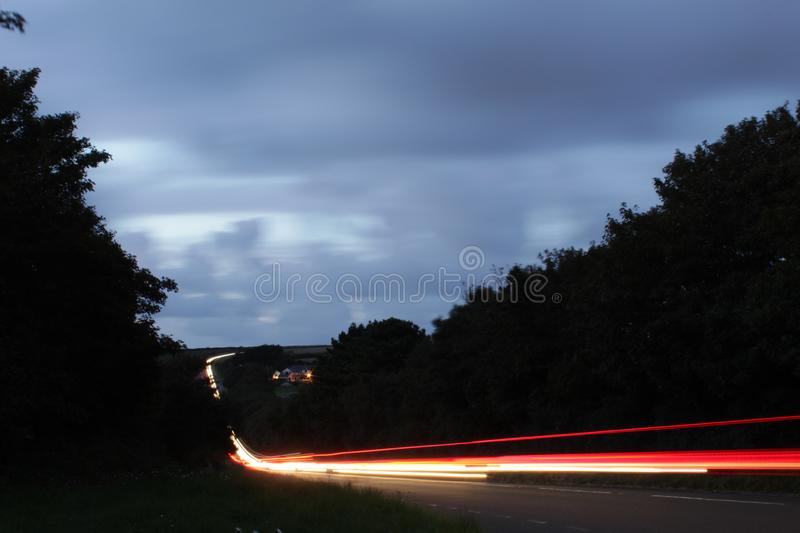 Light trails in Cornwall stock images