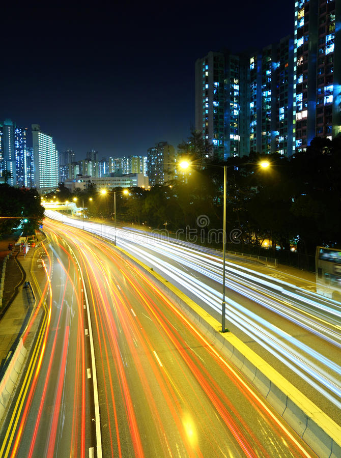 Light Trails On Highway Royalty Free Stock Photo