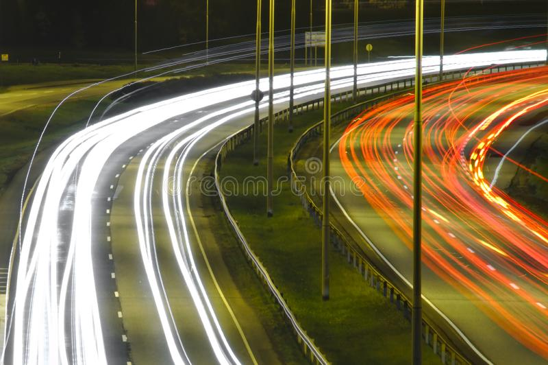 Light trails on a highway royalty free stock photography