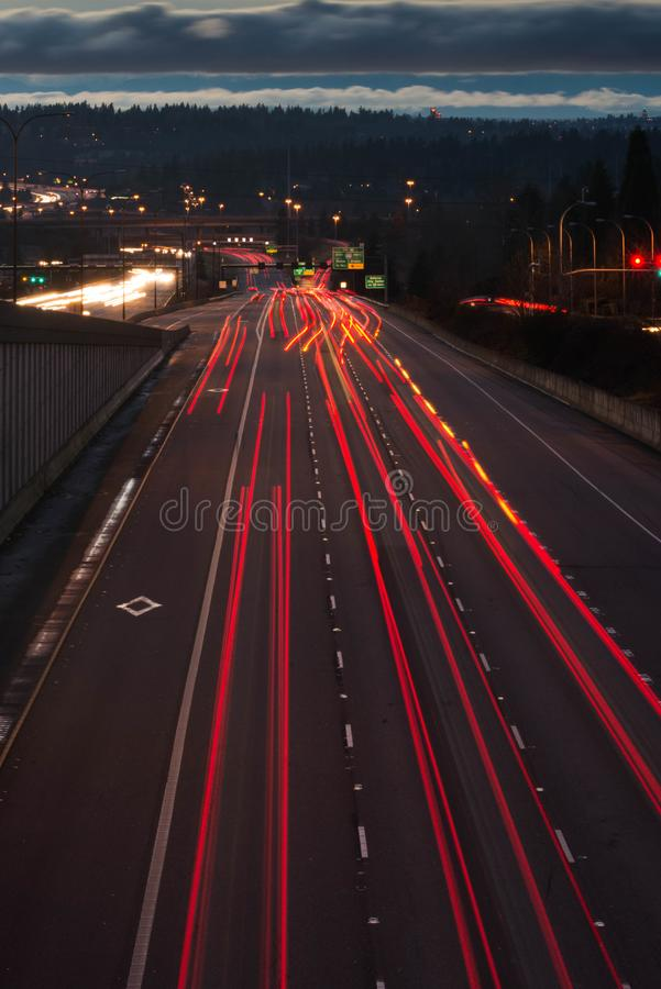 Light trails on highway stock photo