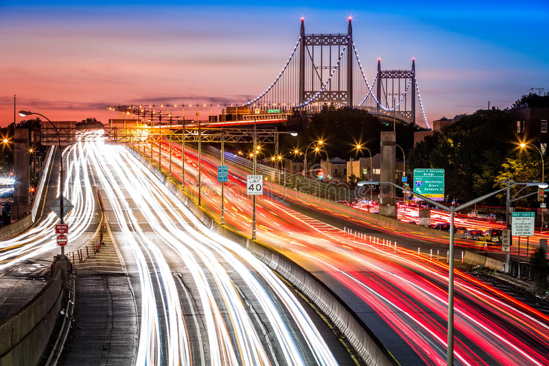 Light trails on I-278 near Triboro Bridge royalty free stock photography