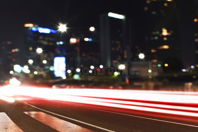 The light trails jakarta stree royalty free stock images