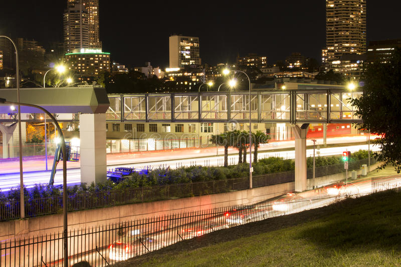 Light Trails Long exposure photo of Cowper Wharf Sydney. royalty free stock image