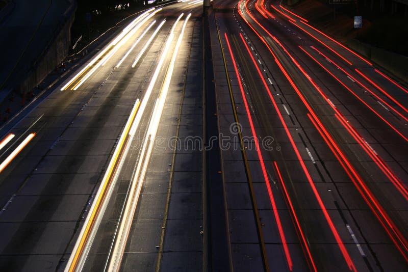Light Trails Los Angeles Freeway stock photo