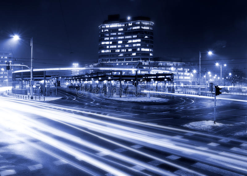 Download The Light Trails On The Modern Building Stock Image - Image: 28832511