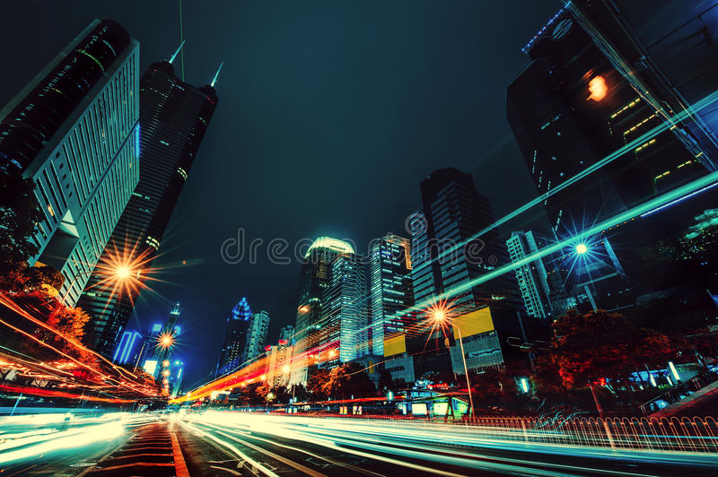 The light trails on the modern building background in shenzhen china stock images