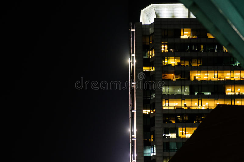 The light trails on the modern building background stock image